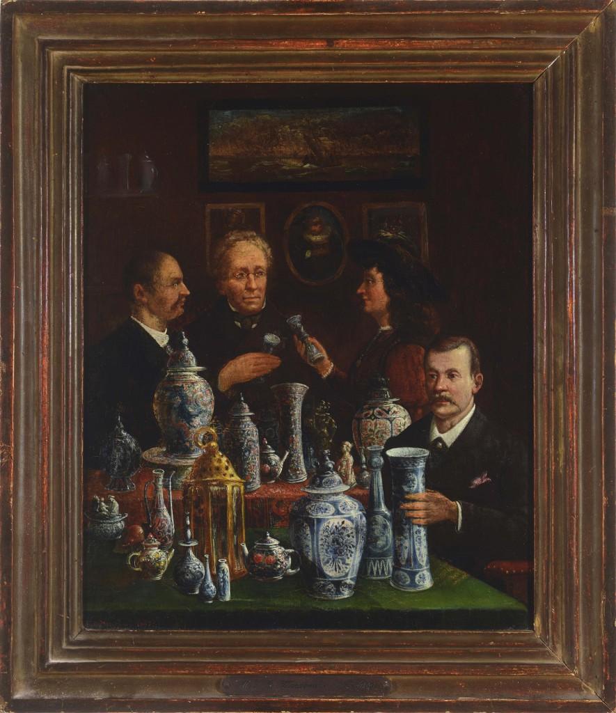 M.J.C. Wegenaar, Verzamelaars van Chinees porselein en Delfts aardewerk aan het discussiëren, 1885