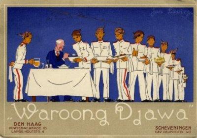 Jan Lavies, reclamekaart voor Waroong Djawa, ongedateerd, collectie KITLV (uit besproken boek)